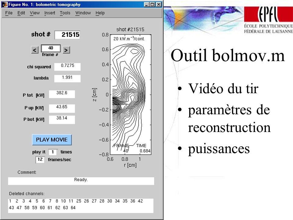 Outil bolmov.m Vidéo du tir paramètres de reconstruction puissances