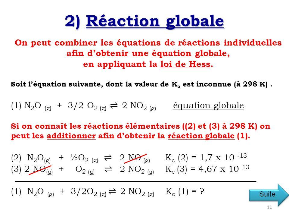 On peut combiner les équations de réactions individuelles afin dobtenir une équation globale, en appliquant la loi de Hess.