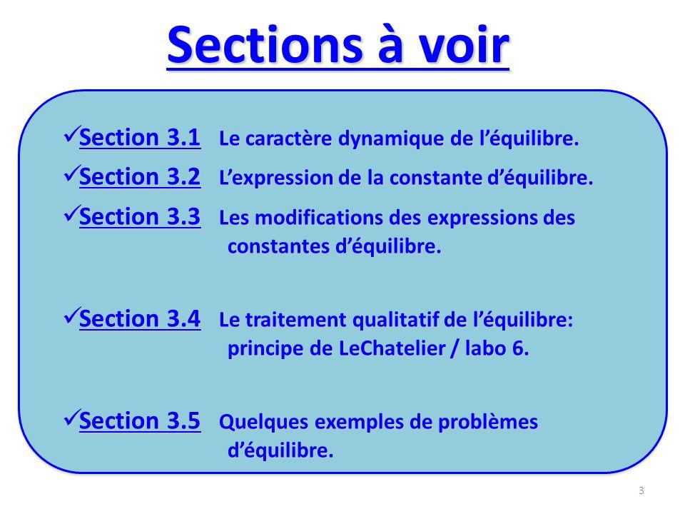 3.1 Le caractère dynamique de léquilibre À léquilibre, les vitesses de réactions directe et inverse sont égales et les concentrations des réactifs et des produits demeurent constantes.