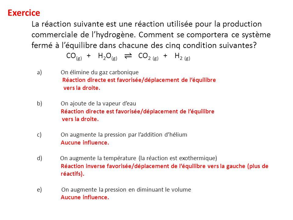 Exercice La réaction suivante est une réaction utilisée pour la production commerciale de lhydrogène.