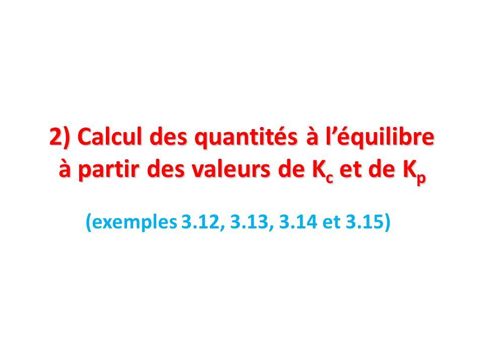 2) Calcul des quantités à léquilibre à partir des valeurs de K c et de K p (exemples 3.12, 3.13, 3.14 et 3.15)