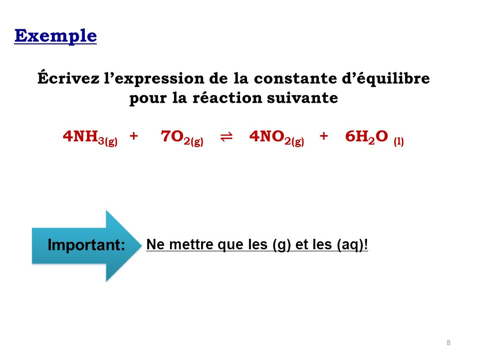 8 Exemple Écrivez lexpression de la constante déquilibre pour la réaction suivante 4NH 3(g) + 7O 2(g) 4NO 2(g) + 6H 2 O (l) Important: Ne mettre que les (g) et les (aq)!