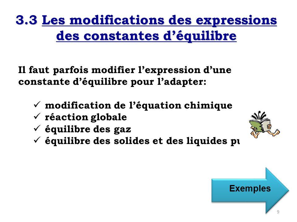 1) Modification de léquation chimique Équilibre 1 : formation de NO 2 2NO (g) + O 2(g) 2NO 2(g) Équilibre 2 : décomposition de NO 2 2NO 2(g) 2NO (g) + O 2(g) K form = [NO 2 ] 2 = 4,67 x 10 13 [NO] 2 [O 2 ] K décom = [NO] 2 [O 2 ] = 2,14 x 10 -14 [NO 2 ] 2 K décom = 1 = 1 = 2,14 x 10 -14 K form 4,67 x 10 13 Constante déquilibre de la réaction inverse est la réciproque de la constante déquilibre de la réaction directe.