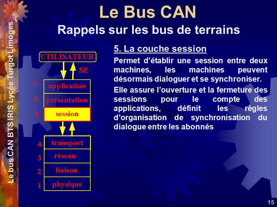 Le Bus CAN Le bus CAN BTS IRIS Lycée Turgot Limoges 15 5. La couche session Permet détablir une session entre deux machines, les machines peuvent déso