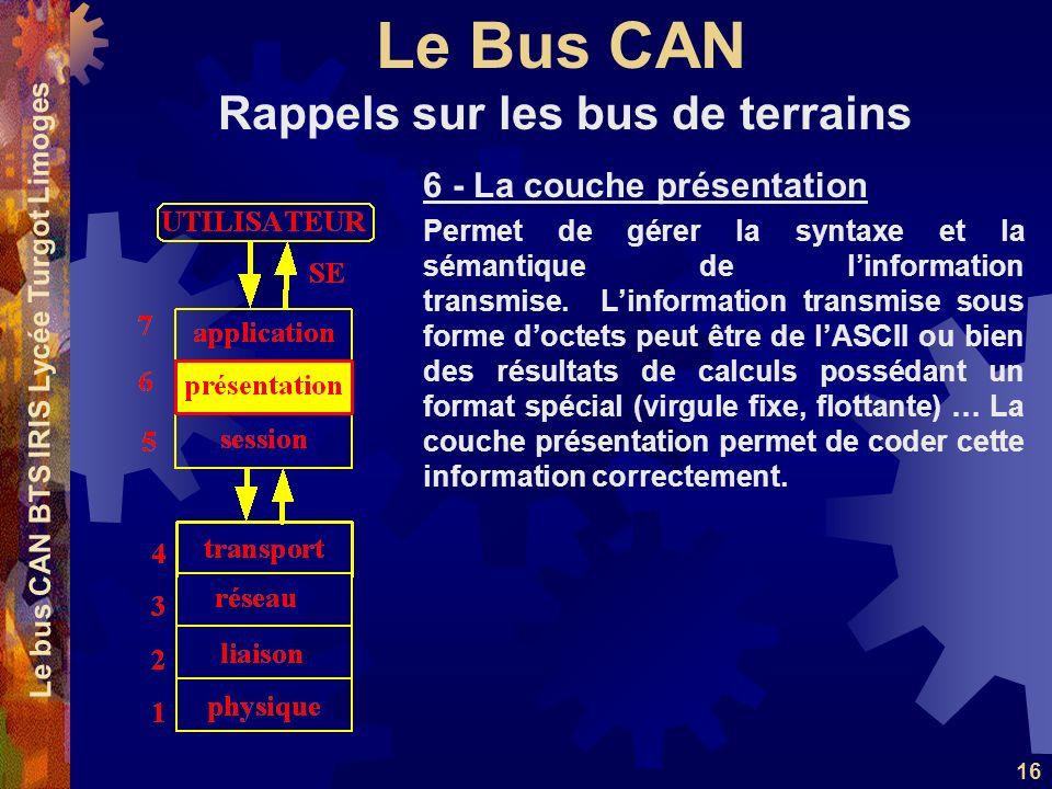 Le Bus CAN Le bus CAN BTS IRIS Lycée Turgot Limoges 16 6 - La couche présentation Permet de gérer la syntaxe et la sémantique de linformation transmis