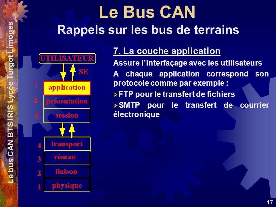 Le Bus CAN Le bus CAN BTS IRIS Lycée Turgot Limoges 17 7. La couche application Assure linterfaçage avec les utilisateurs A chaque application corresp