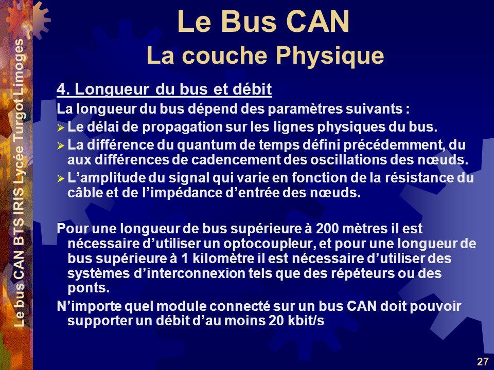 Le Bus CAN Le bus CAN BTS IRIS Lycée Turgot Limoges 27 4. Longueur du bus et débit La longueur du bus dépend des paramètres suivants : Le délai de pro