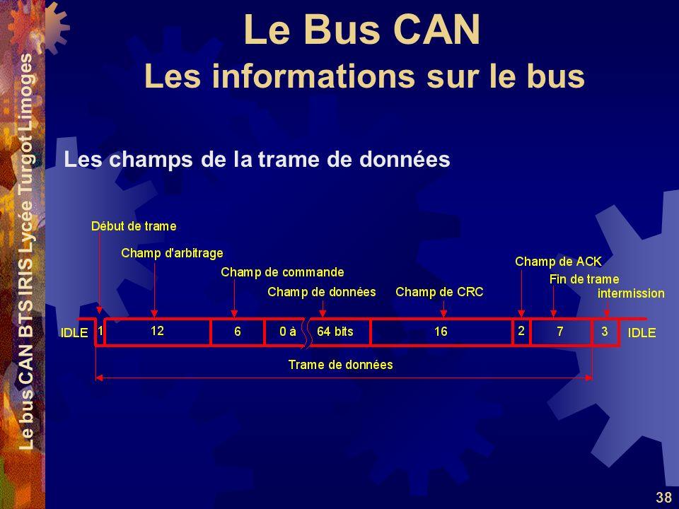 Le Bus CAN Le bus CAN BTS IRIS Lycée Turgot Limoges 38 Les champs de la trame de données Les informations sur le bus