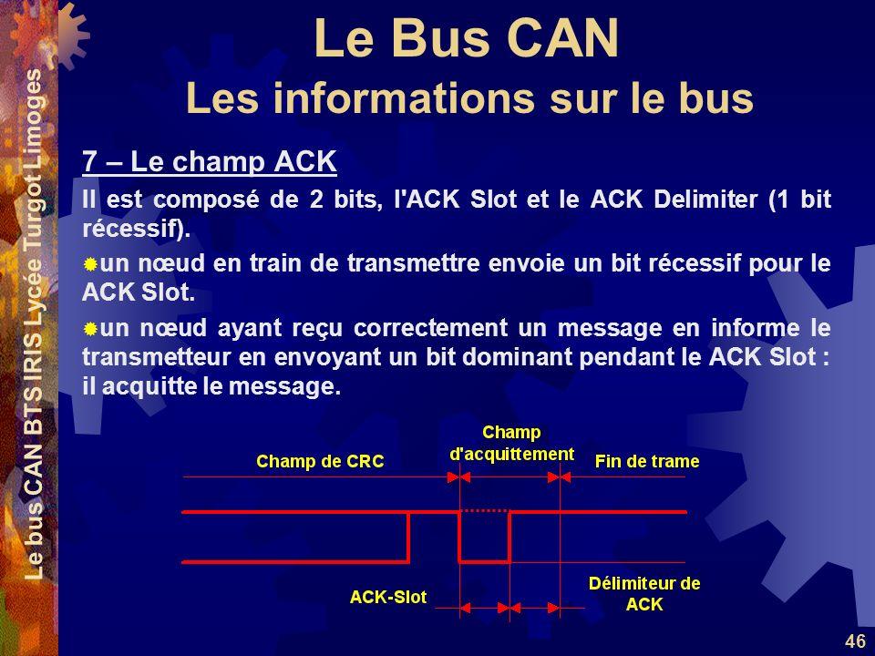 Le Bus CAN Le bus CAN BTS IRIS Lycée Turgot Limoges 46 7 – Le champ ACK Il est composé de 2 bits, l'ACK Slot et le ACK Delimiter (1 bit récessif). un