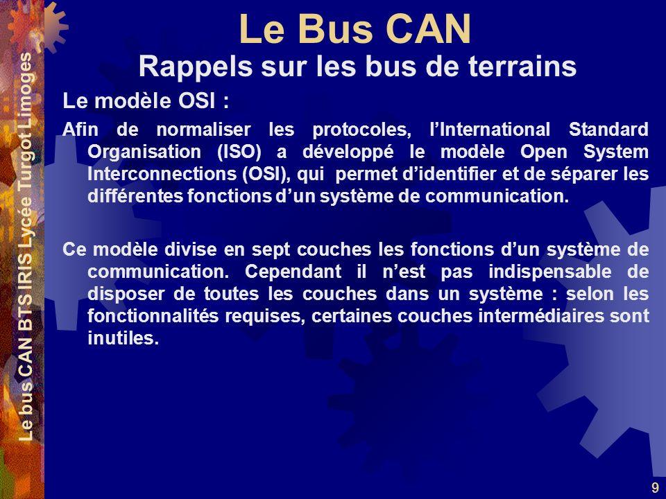 Le Bus CAN Le bus CAN BTS IRIS Lycée Turgot Limoges 9 Le modèle OSI : Afin de normaliser les protocoles, lInternational Standard Organisation (ISO) a