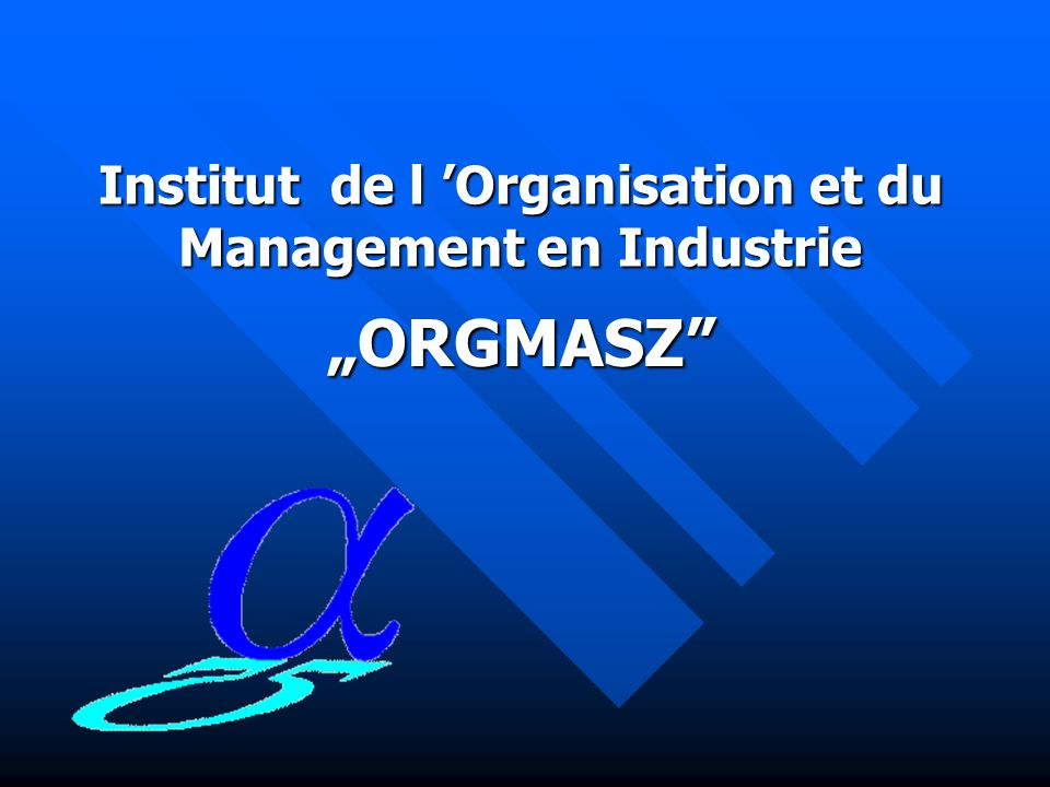Institut de l Organisation et du Management en Industrie ORGMASZ rue Żelazna 87 00-879 Varsovie ph.