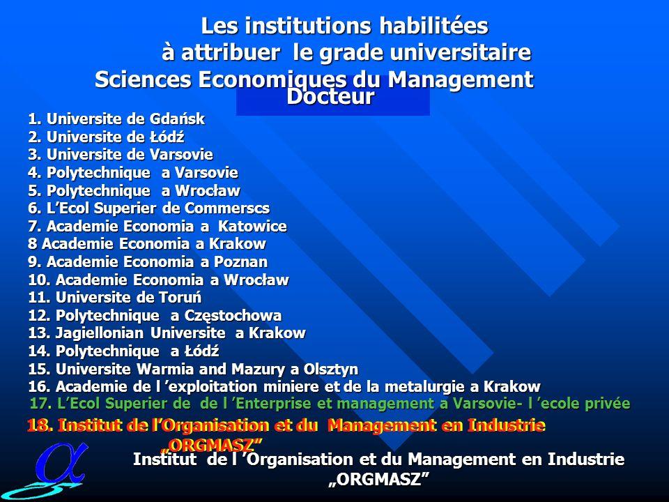 Nombre des institutions habilitées à attribuer des grades universitaires ORGMASZ 5 01 1701 Les unites habilitées À attribuer le Doctorat dEtat Science