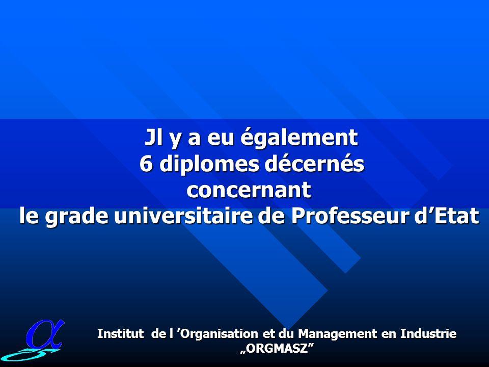Le nombre dattributions du grade universitaire de doctorat dEtat par l Instytut ORGMASZ depuis 1987 Jusquà aujourdhui il a eu 26 diplômes de doctorat