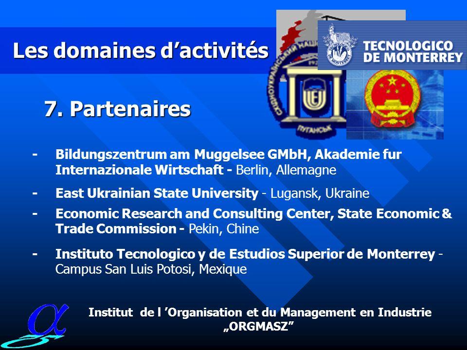 Les domaines dactivités 6. Coopération internationale -coopération scientifique au niveau des contacts bilatéraux avec la Chine, lAllemagne et lUkrain