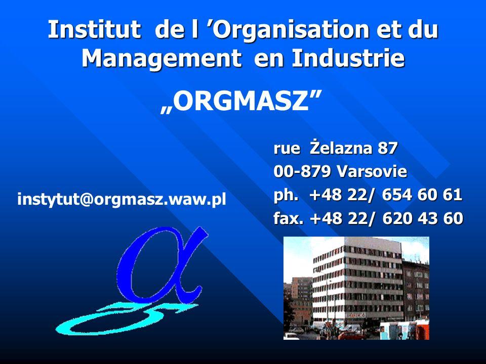 Institut de l Organisation et du Management en Industrie ORGMASZ Les domaines dactivités 7. Partenaires -Bildungszentrum am Muggelsee GMbH, Akademie f