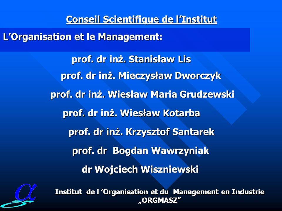RADA NAUKOWA INSTYTUTU składa się z samodzielnych pracowników naukowych, wybitnych naukowców w swoich specjalnościach oraz pracowników Instytutu: LOrganisation et le Management: Conseil Scientifique de lInstitut prof.