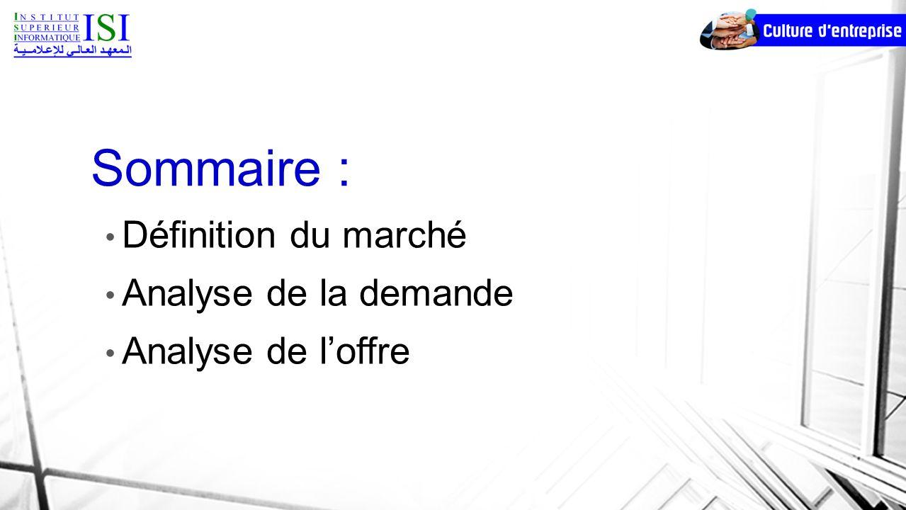 Sommaire : Définition du marché Analyse de la demande Analyse de loffre