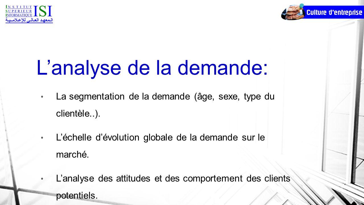 Lanalyse de la demande: La segmentation de la demande (âge, sexe, type du clientèle..). Léchelle dévolution globale de la demande sur le marché. Lanal