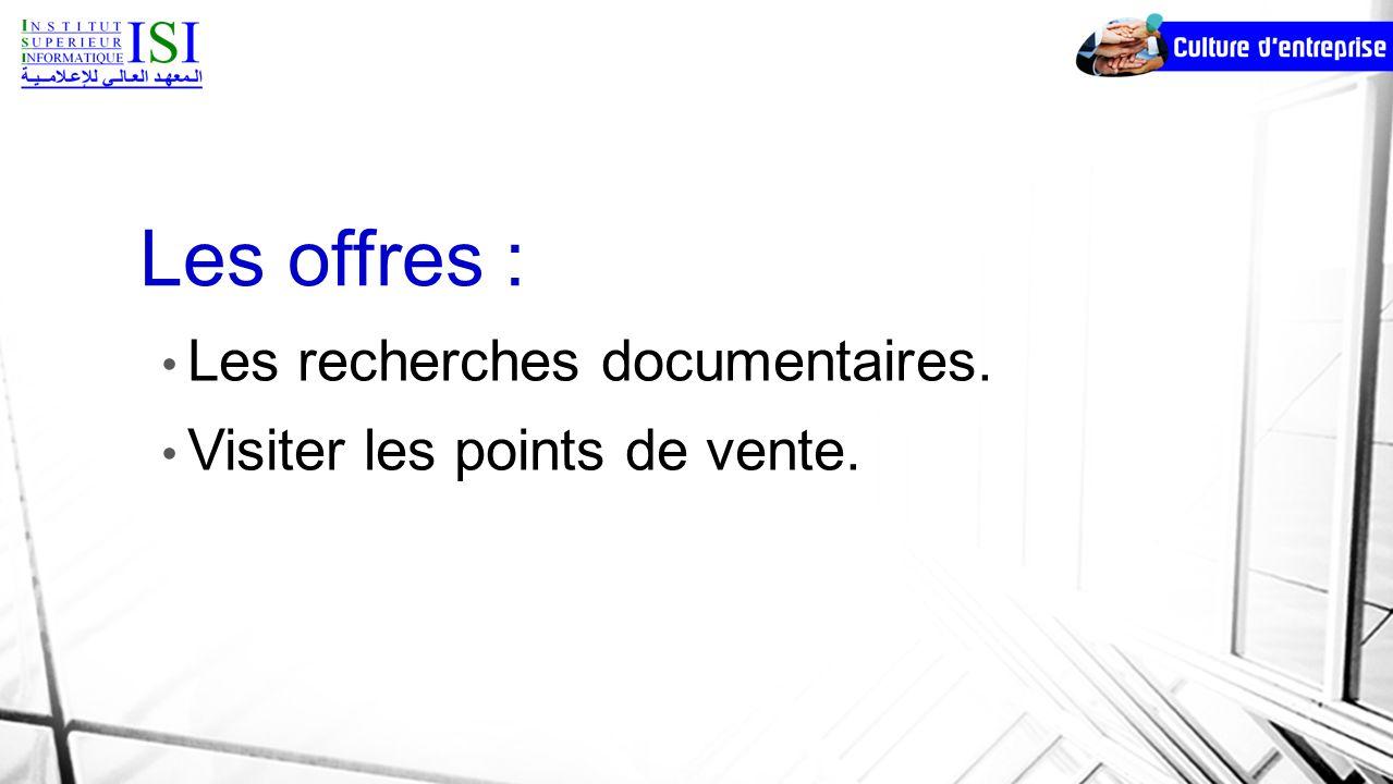 Les offres : Les recherches documentaires. Visiter les points de vente.