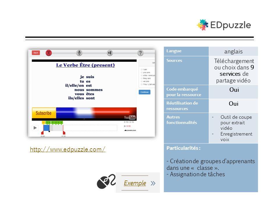 EDpuzzle Langue anglais Sources Téléchargement ou choix dans 9 services de partage vidéo Code embarqué pour la ressource Oui Réutilisation de ressourc