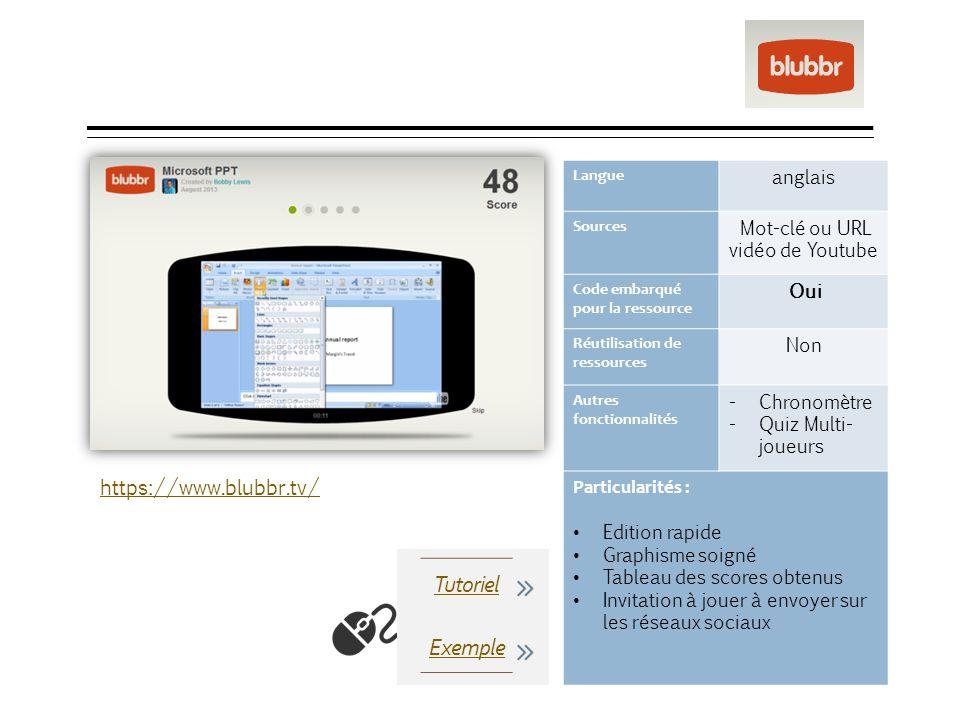 blubbr Langue anglais Sources Mot-clé ou URL vidéo de Youtube Code embarqué pour la ressource Oui Réutilisation de ressources Non Autres fonctionnalit