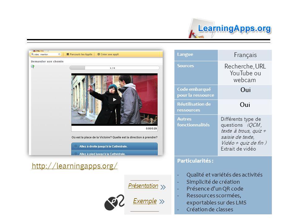 LearningApps Langue Français Sources Recherche, URL YouTube ou webcam Code embarqué pour la ressource Oui Réutilisation de ressources Oui Autres fonct