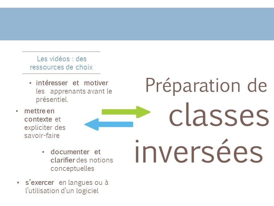 Les vidéos : des ressources de choix Préparation de classes inversées intéresser et motiver les apprenants avant le présentiel. sexercer en langues ou
