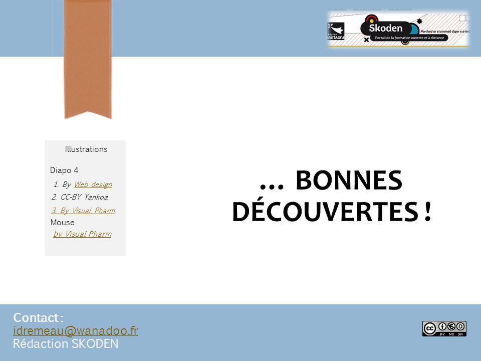 … BONNES DÉCOUVERTES ! Contact : idremeau@wanadoo.fr idremeau@wanadoo.fr Rédaction SKODEN by Visual Pharm 2. CC-BY Yankoa 3. By Visual Pharm 1. By Web