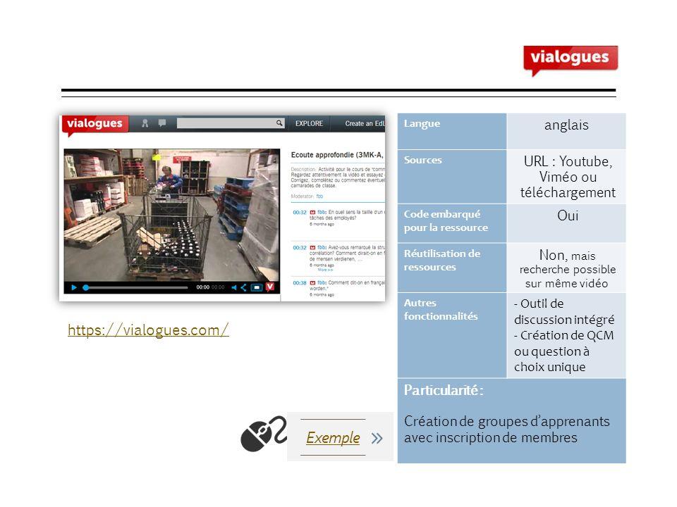 Vialogues Langue anglais Sources URL : Youtube, Viméo ou téléchargement Code embarqué pour la ressource Oui Réutilisation de ressources Non, mais rech