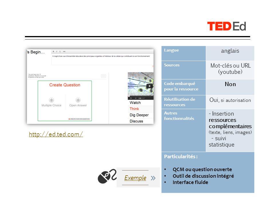 LearningApps Langue Français Sources Recherche, URL YouTube ou webcam Code embarqué pour la ressource Oui Réutilisation de ressources Oui Autres fonctionnalités Différents type de questions ( QCM, texte à trous, quiz + saisie de texte, Vidéo + quiz de fin ) Extrait de vidéo Particularités : -Qualité et variétés des activités -Simplicité de création -Présence dun QR code -Ressources scormées, exportables sur des LMS -Création de classes http://learningapps.org/ Exemple Présentation