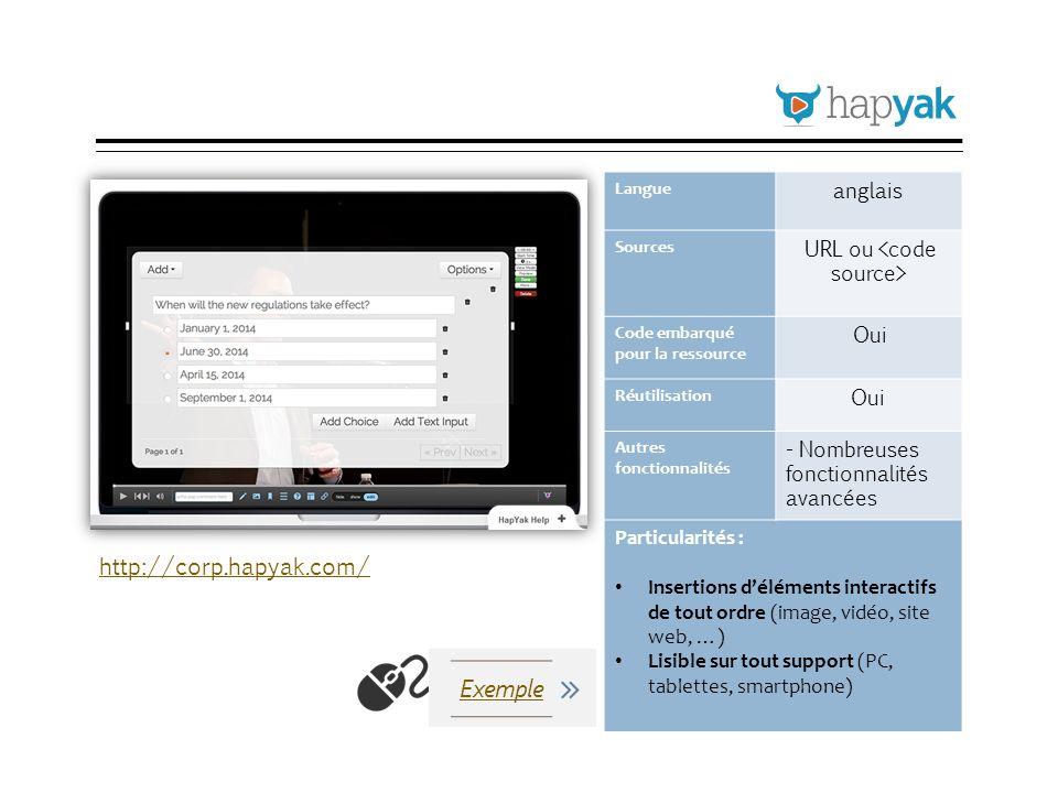 HapYak Langue anglais Sources URL ou Code embarqué pour la ressource Oui Réutilisation Oui Autres fonctionnalités - Nombreuses fonctionnalités avancée