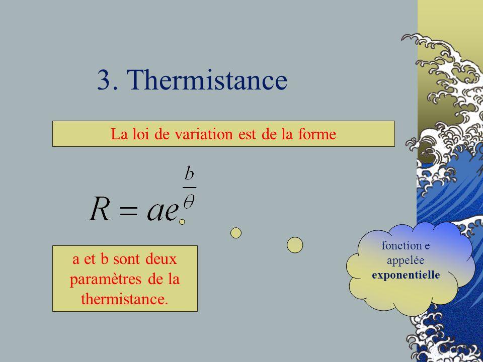 3. Thermistance La loi de variation est de la forme a et b sont deux paramètres de la thermistance. fonction e appelée exponentielle