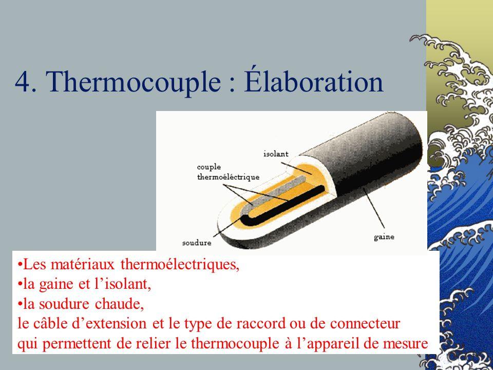 4. Thermocouple : Élaboration Les matériaux thermoélectriques, la gaine et lisolant, la soudure chaude, le câble dextension et le type de raccord ou d