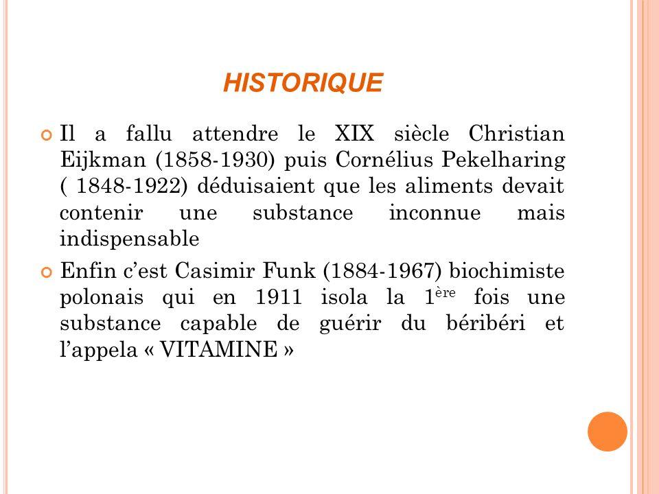 L A VITAMINE B 1 OU THIAMINE Appelée autrefois aneurine, a été isolée en 1910 à partir de la cuticule de riz par Funk qui créa le terme de vitamine.