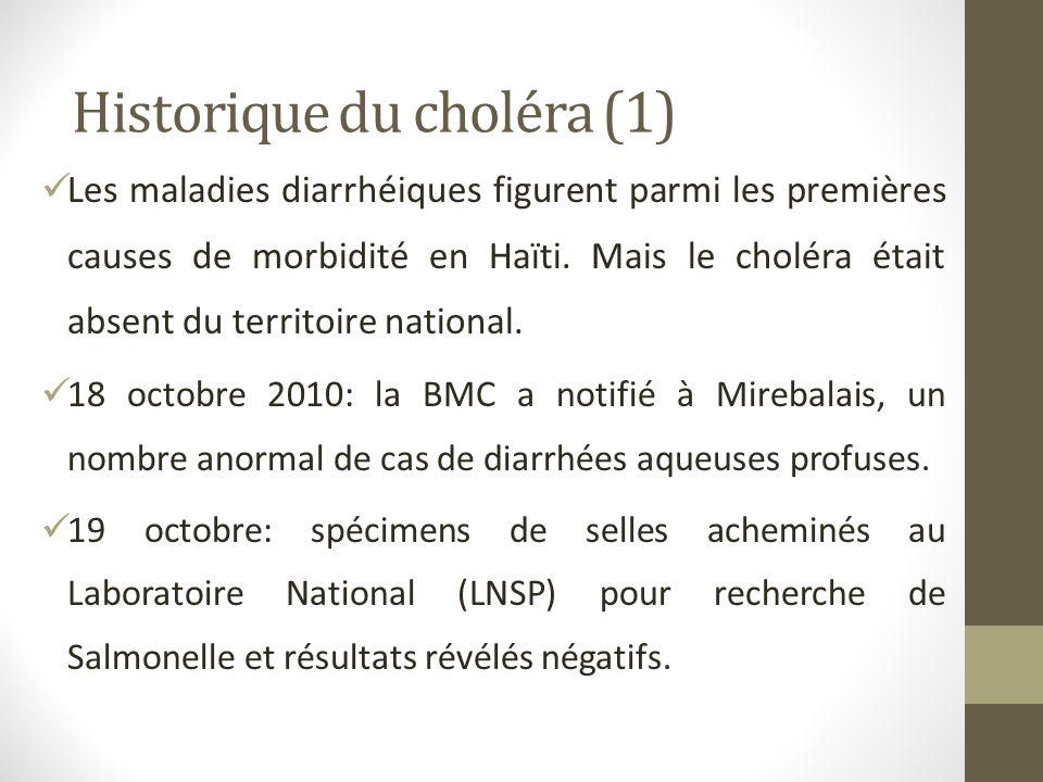Historique du choléra (1) Les maladies diarrhéiques figurent parmi les premières causes de morbidité en Haïti. Mais le choléra était absent du territo