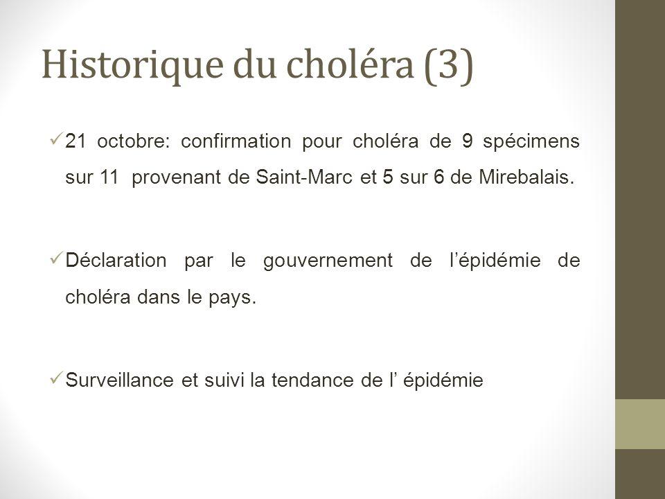 Historique du choléra (3) 21 octobre: confirmation pour choléra de 9 spécimens sur 11 provenant de Saint-Marc et 5 sur 6 de Mirebalais. Déclaration pa