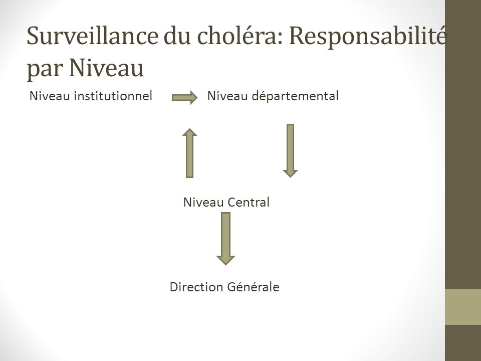 Niveau institutionnel Niveau départemental Niveau Central Direction Générale