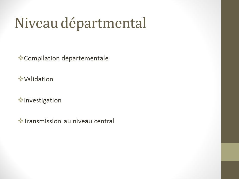 Niveau départmental Compilation départementale Validation Investigation Transmission au niveau central