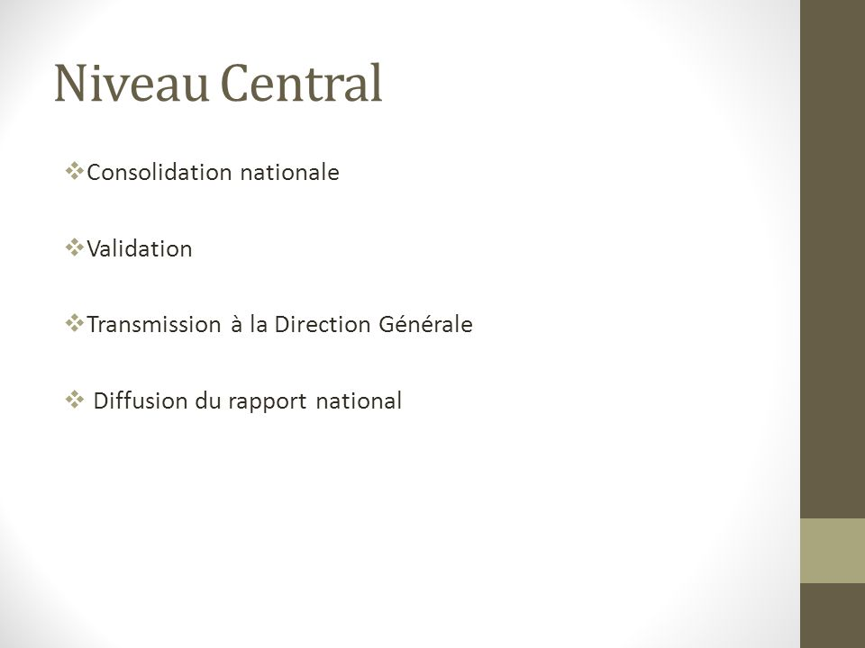 Niveau Central Consolidation nationale Validation Transmission à la Direction Générale Diffusion du rapport national