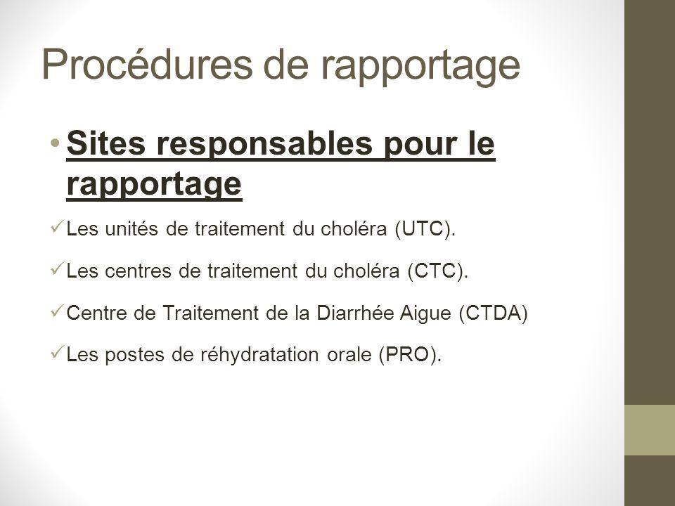 Procédures de rapportage Sites responsables pour le rapportage Les unités de traitement du choléra (UTC). Les centres de traitement du choléra (CTC).