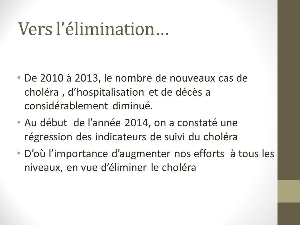Vers lélimination… De 2010 à 2013, le nombre de nouveaux cas de choléra, dhospitalisation et de décès a considérablement diminué. Au début de lannée 2