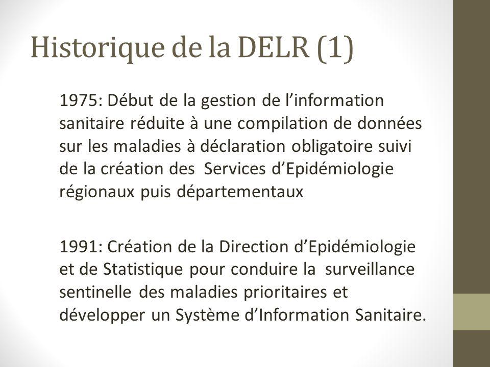 Historique de la DELR (1) 1975: Début de la gestion de linformation sanitaire réduite à une compilation de données sur les maladies à déclaration obli