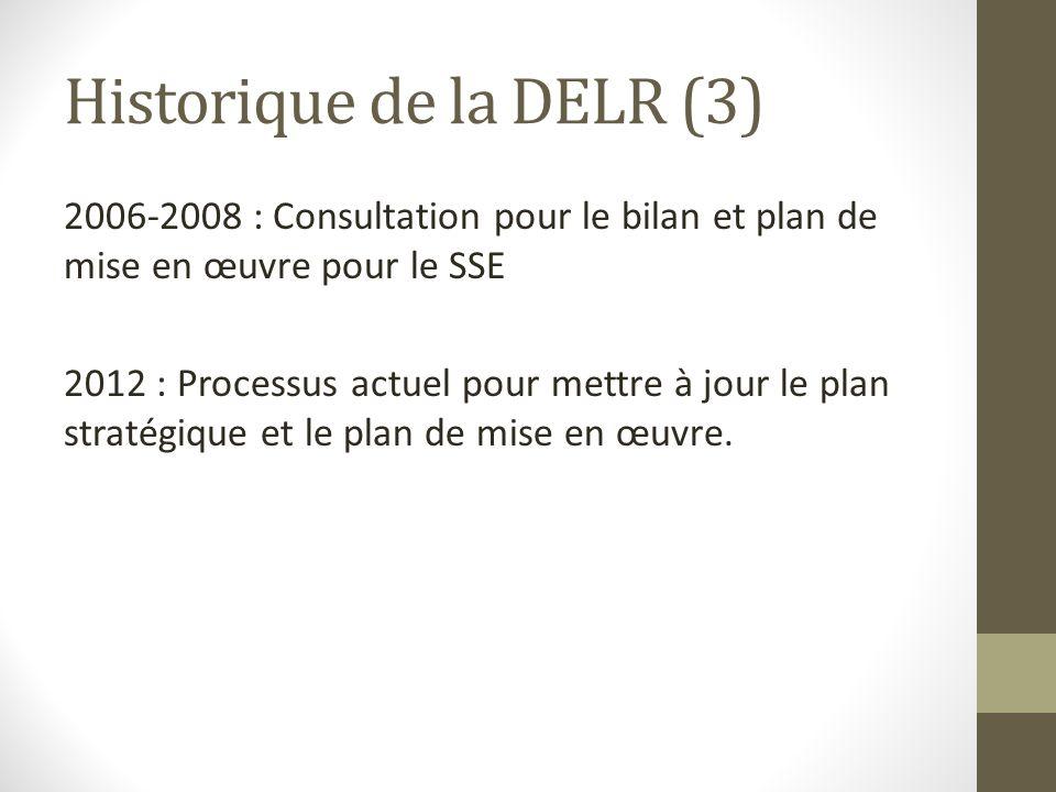 Historique de la DELR (3) 2006-2008 : Consultation pour le bilan et plan de mise en œuvre pour le SSE 2012 : Processus actuel pour mettre à jour le pl