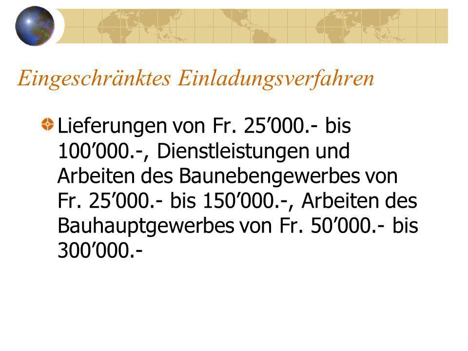 Eingeschränktes Einladungsverfahren Lieferungen von Fr.