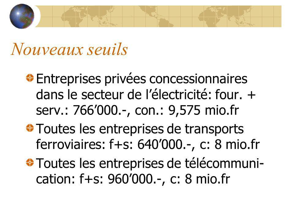 Nouveaux seuils Entreprises privées concessionnaires dans le secteur de lélectricité: four.