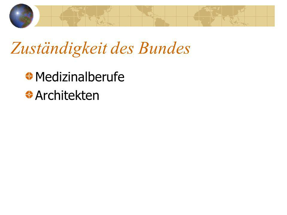 Zuständigkeit des Bundes Medizinalberufe Architekten