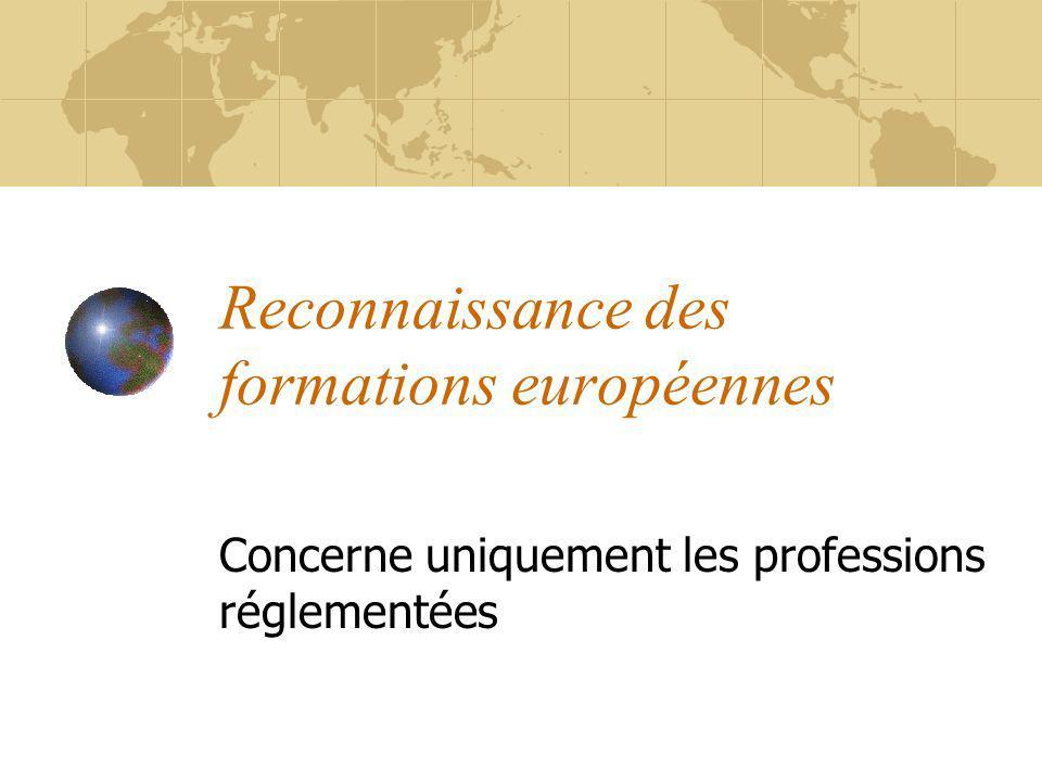 Reconnaissance des formations européennes Concerne uniquement les professions réglementées