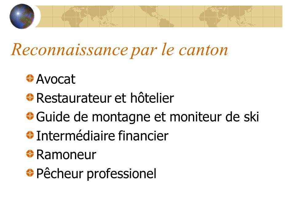 Reconnaissance par le canton Avocat Restaurateur et hôtelier Guide de montagne et moniteur de ski Intermédiaire financier Ramoneur Pêcheur professionel