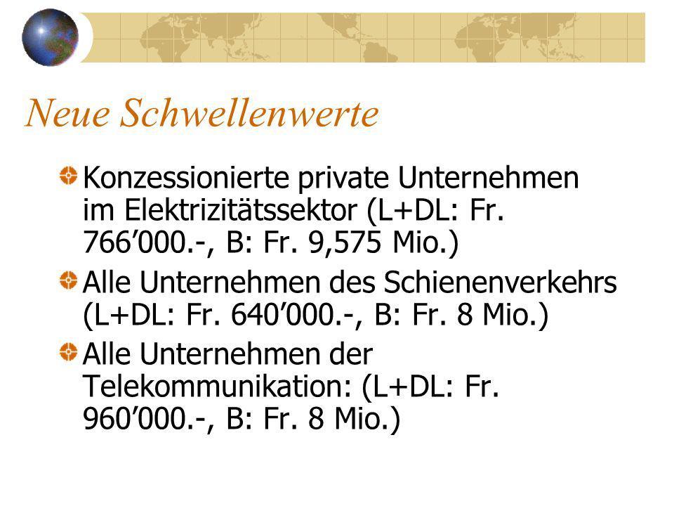 Neue Schwellenwerte Konzessionierte private Unternehmen im Elektrizitätssektor (L+DL: Fr.