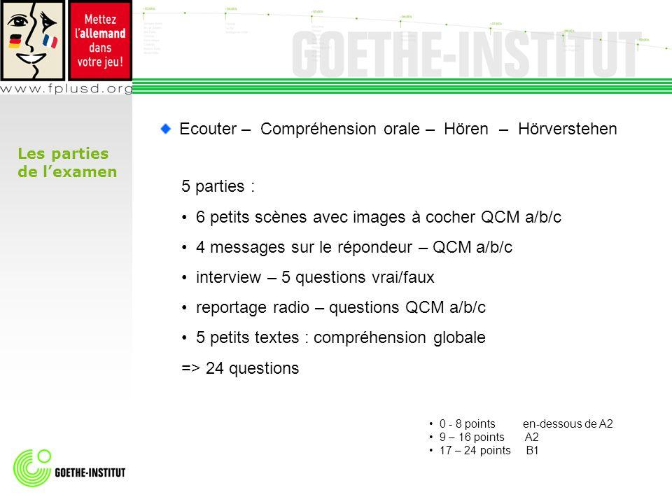 Les parties de lexamen 5 parties : 6 petits scènes avec images à cocher QCM a/b/c 4 messages sur le répondeur – QCM a/b/c interview – 5 questions vrai